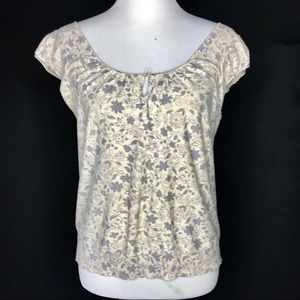 Marc by Marc Jacobs Yellow Floral Keyhole Top